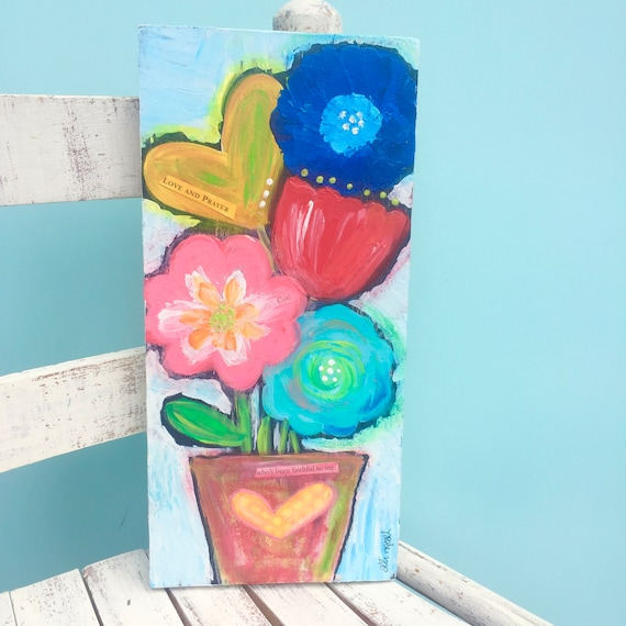 floral painting • original floral art • farmhouse floral • floral abstract • colorful art • nursery art • mothers day gift • floral decor