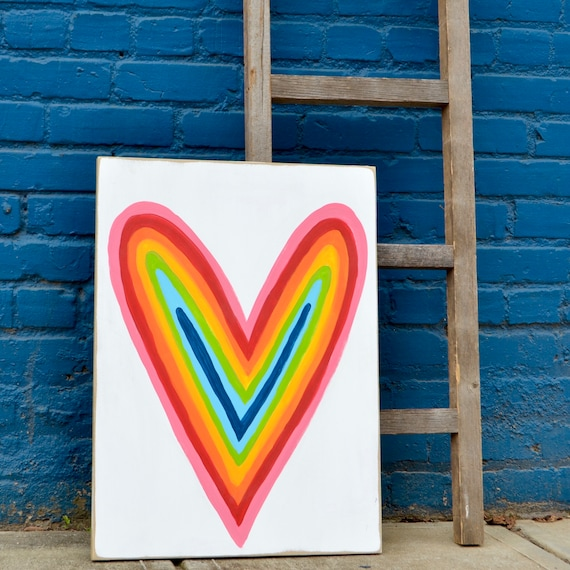 Heart Painting Rainbow Colorful Abstract Heart Colorful Wall Decor Bright Colored Art Love Painting Heart Art Original Art on wood Wedding