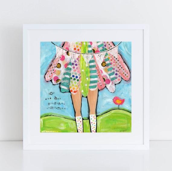 Be Joyful original girl painting, Teen girl Gift, Faith based art, Girls Room decor, Brave girls art, square art print, colorful happy art