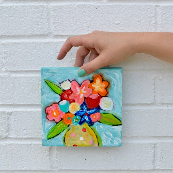 small original art flower painting floral abstract flowers in vase acrylic painting gift for her affordable art mixed media art colorful art