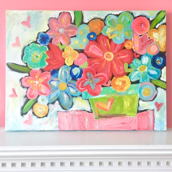 Colorful Flower Art • Textured Wall art • Canvas Painting • Mothers Day Gift • Nursery Decor • Acrylic Painting • Colorful Art • Floral Art