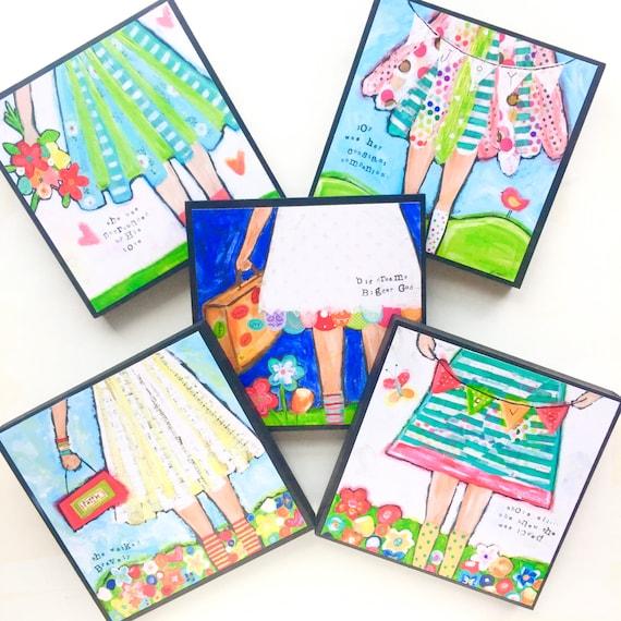 Brave Girl Art Blocks, Teen Girl Gift, Girls Room Decor, Mounted Art prints, Whimsical Girl paintings, Colorful Happy Art, Flowers, Fashion
