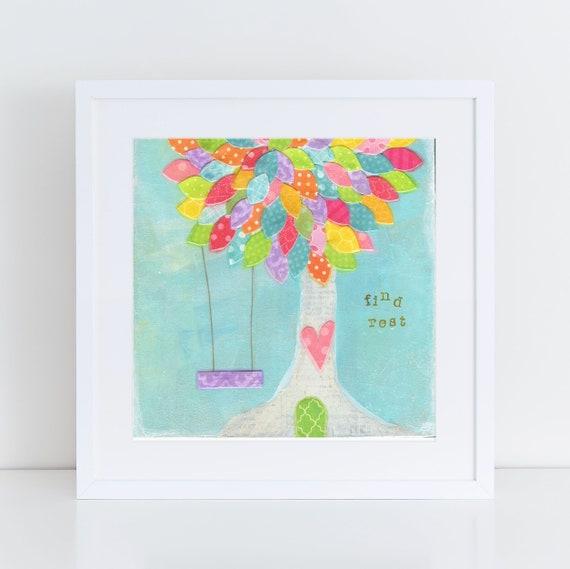 Whimsical Tree Art Painting, Tree Swing, Childrens Room Decor, Aqua nursery decor, find rest, Square art print, baby nursery art, kids room