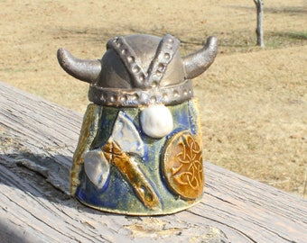 Viking Gnome - blonde with axe and shield, blue