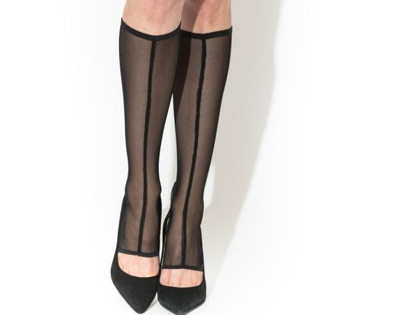 TOES LESS Under Knee sock's, stocking, see through stocking, Boudoir Lingerie.