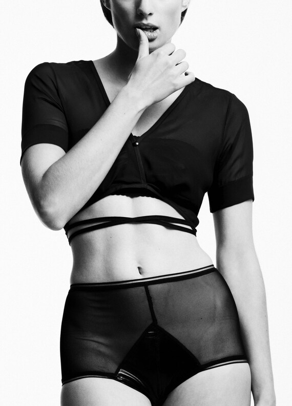 Lola panties, wet look & sheer mesh