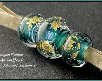 BIG HOLE BEADS Deep Teal Water and Waves  23K Gold Lampwork Bead Set by Canyon Echoes