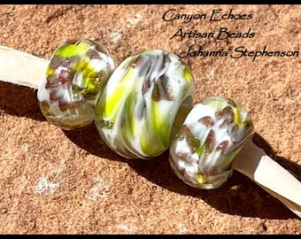 BIG HOLE BEADS Sparkly Spring Greens Lampwork Beads by Canyon Echoes Artisan Beads