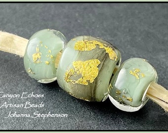 BIG HOLE Shades of Willow Lampwork Beads by Canyon Echoes Artisan Beads