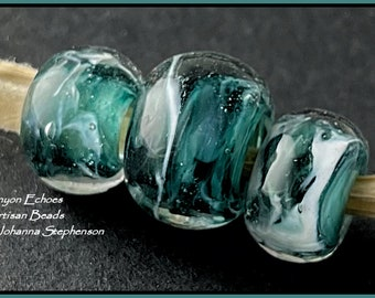 BIG HOLE BEADS Deep Teal Water and Waves  Lampwork Bead Set by Canyon Echoes