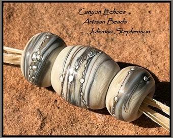 BIG HOLE Silvered Sandstone Organic Lampwork Bead Set SRA