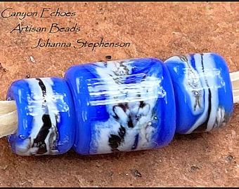 BIG HOLE BEADS Bright Blue Black Silvered Ivory Lampwork Bead Set by Canyon Echoes