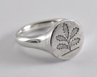 Oak Seal ring - silver