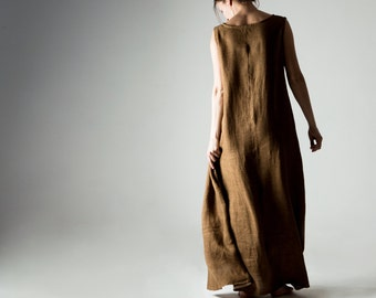 Linen tunic, Maxi dress, Linen dress, Boho dress, Bohemian dress, Tunic dress, Brown dress, Summer dress, Plus size dress, Womens clothing,