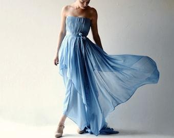 Wedding dress, Boho wedding dress, Bohemian wedding dress, Blue wedding dress, Princess wedding dress, Bohemian wedding dress, AMSONIA