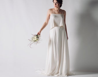 Backless wedding dress, Sexy wedding dress, Sequin wedding dress separates, Bridal separates, Sensual minimalist wedding outfit, MAYFLOWER