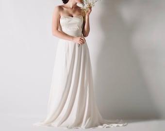 Silk satin wedding dress, White wedding dress, Minimalist wedding dress, Romantic wedding dress, Princess bridal dress, Jasminum