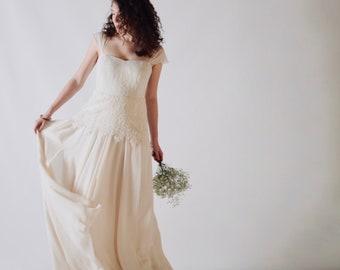 Lace wedding dress, silk wedding dress, bridal gown with slit, Romantic wedding dress, bohemian bride, boho weddding dress, Alchemilla