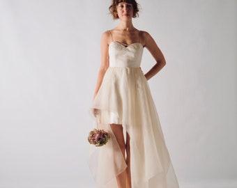 High-low asymmetrical wedding dress, Short wedding dress, Silk wedding dress, Backless wedding dress, Low back bridal gown, Organza, MUSCARI