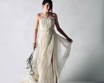 Sustainable wedding dress, Zero waste wedding dress, strapless wedding dress, Bohemian dress, Hippie bridal gown, Eco-conscious, PLUME