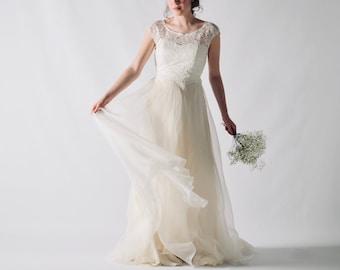 Princess wedding dress, Short sleeved dress, Silk wedding dress, Wedding dress separates, Lace wedding dress, Wedding outfit, TRILLIUM