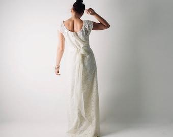 Lace Wedding dress, Simple wedding dress, Wedding dress with sleeves, Casual wedding dress, Modest wedding gown, Boho wedding dress, TANSY