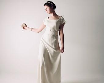 Hochzeitskleid, Tunika Hochzeitskleid, schlichtes Brautkleid, a-Linie Brautkleid, heidnischen Brautkleid, Boho Brautkleid, Seidenkleid, ALTHEA