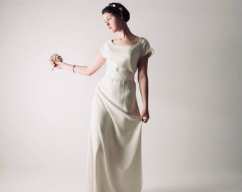 Wedding dress, Tunic wedding dress, Simple wedding dress, A-line wedding dress, Pagan wedding dress, Boho wedding dress, Silk dress, ALTHEA