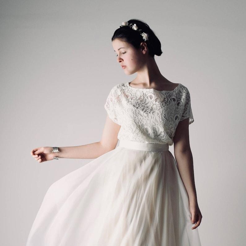 f1ec6b4ad1a5 Lace wedding top Bridal separate Boho wedding dress Bridal