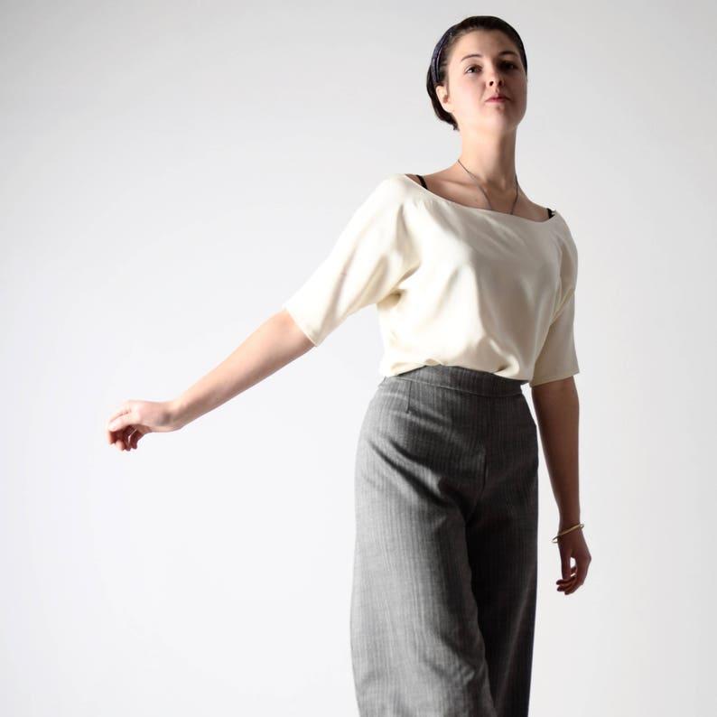 ae296d7f51a7f9 Silk top Silk blouse White silk shirt Office shirt Kimono