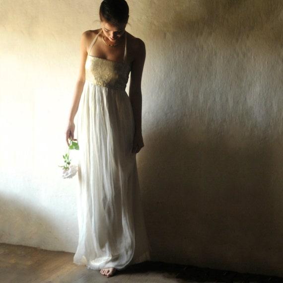 Goldene Hochzeit Kleid Pailletten Hochzeitskleid Boho Brautkleid Boho Brautkleid Schlichtes Brautkleid Alternative Hochzeitskleid Lang