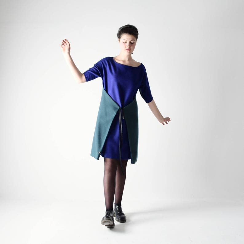 4d3f14bf44c Pull robe robe tunique tunique de laine Robe portefeuille