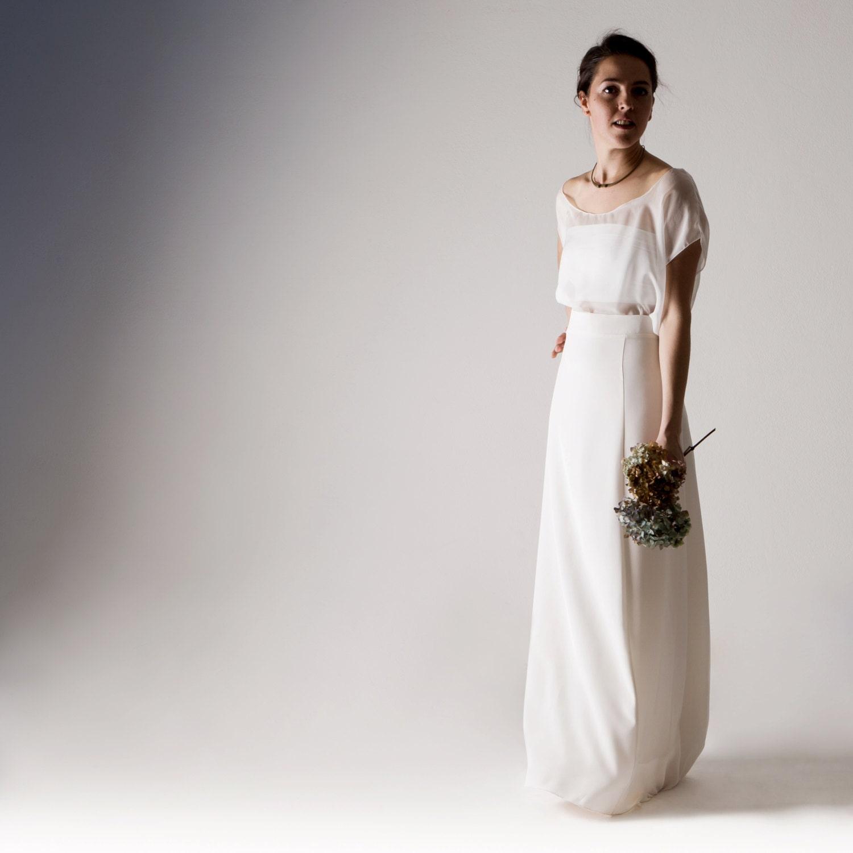 Wedding Dress Separates Wedding Dress White Silk Wedding Etsy