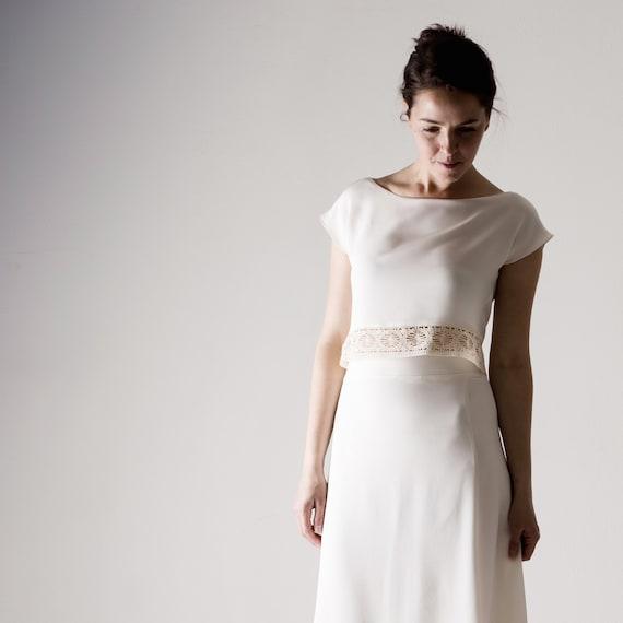 Wedding Top Wedding Separates Bohémienne Silk Crop Top White Top Simple Wedding Dress Reception Dress Casual Wedding Outfit Lichen