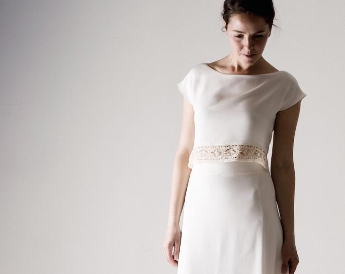 Wedding top, Wedding separates, Bohémienne Silk Crop top, White top, Simple wedding dress, Reception dress, Casual wedding outfit, LICHEN