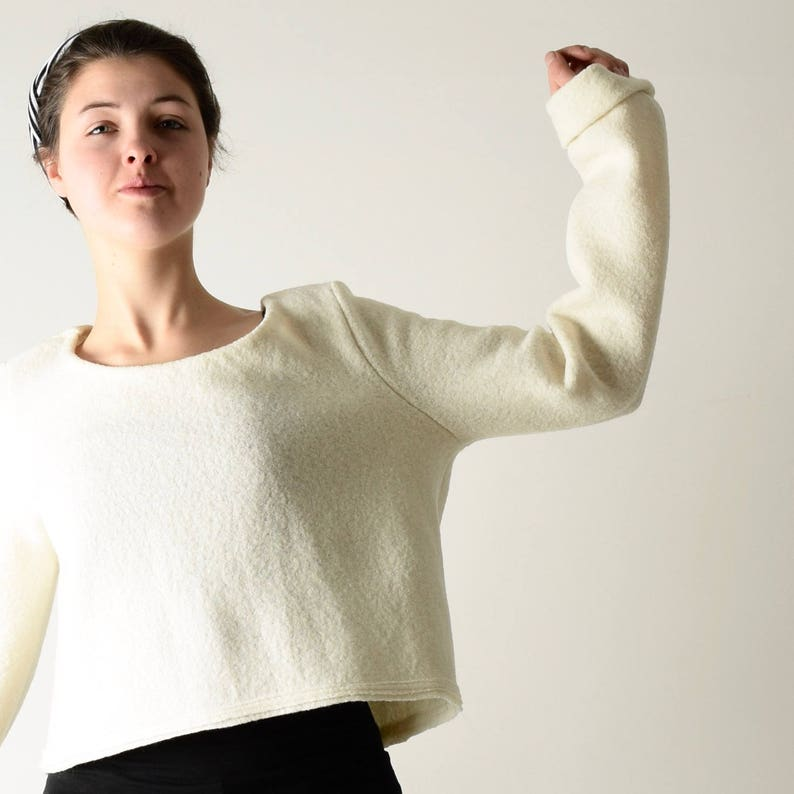 White sweater Womens clothing Winter top Wool top Pullover Long sleeve top Crop top Warm sweater Ivory blouse Virgin wool Sweater