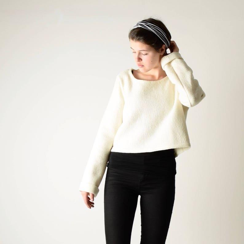 Trui Met Witte Blouse.Virgin Wollen Trui Witte Trui Wol Boven Pullover Etsy