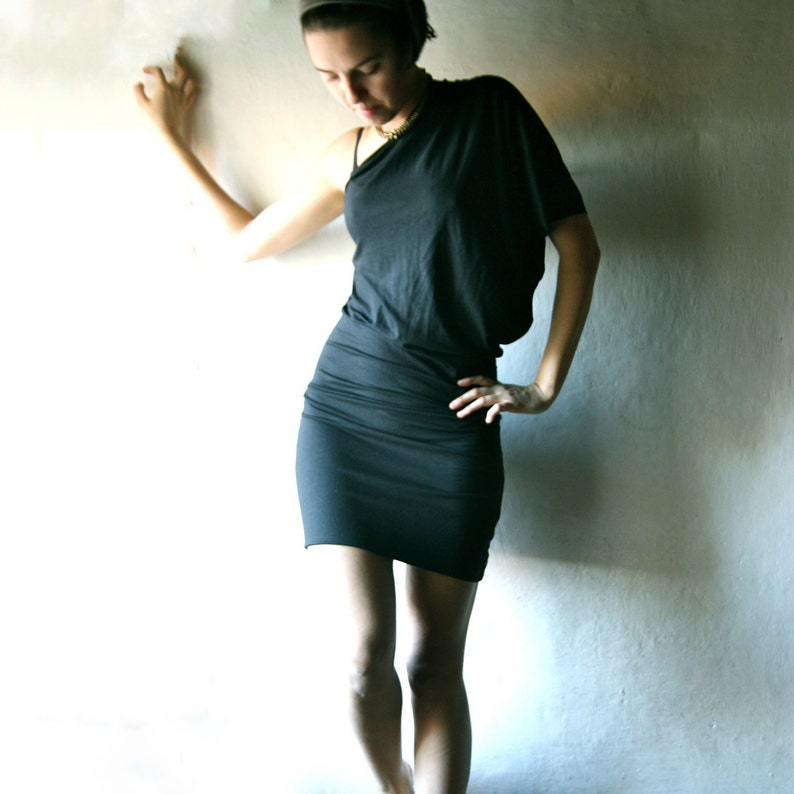 d34a3658ea3 Black one shoulder dress One sleeve dress T-shirt dress   Etsy