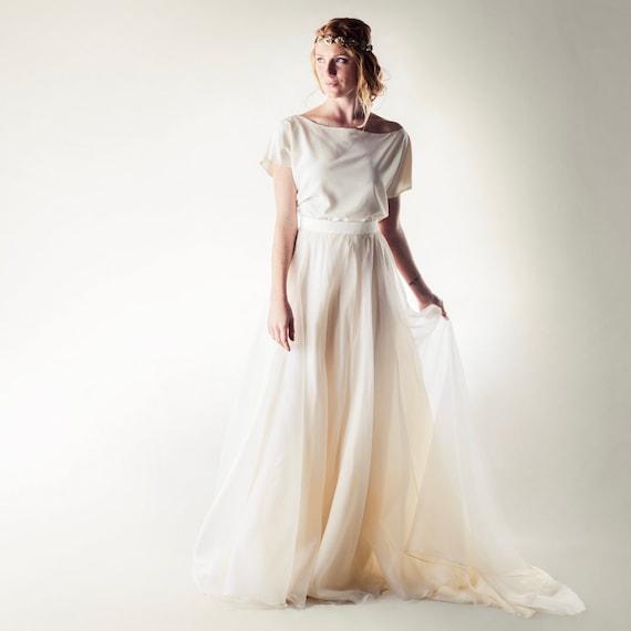 Brautkleid, Stück Boho Brautkleid, Brautkleid Strand, zwei Braut trennt,  weiches Kleid, Brautkleid, Brautkleid aus Seide, Löwenzahn