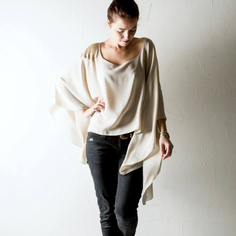 130ef4e687bc50 Oversized top Silk top Silk blouse Silk shirt Kaftan