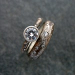 Rustic Engagement Ring with White Sapphire or CZ Sterling Silver Wedding Set Half Round Band Textured Fine Artisan Custom Handmade Jewelry