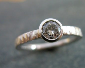 Hammered Engagement Ring Textured Solitaire with White Sapphire or CZ Option Fine Artisan Custom Jewelry