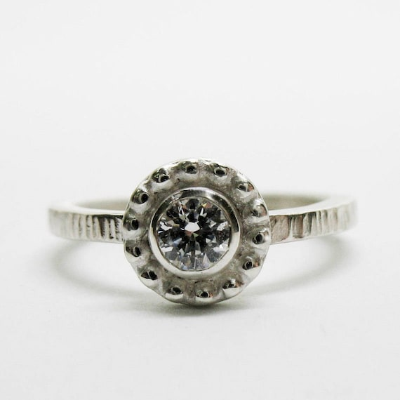 Silver Floral Promise Ring Rustic Halo Engagement Solitaire with White Topaz or Sapphire Fairy Tale Gemstone Jewelry