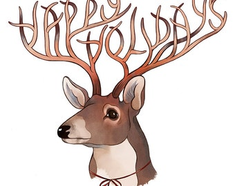 Happy Holiday Card / Reindeer