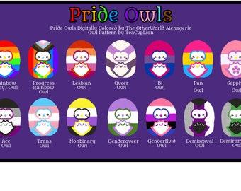 Pride Owls - LGBTQA - Queer - Owl - Gay Lesbian Pan Bi Trans Ace Nonbinary Demi Genderfluid Genderqueer Sapphic