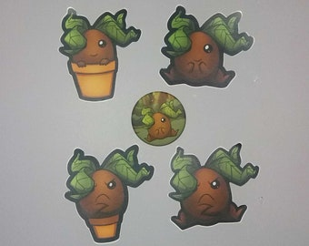 Edwyna the Mandrake - Button and Vinyl Stickers