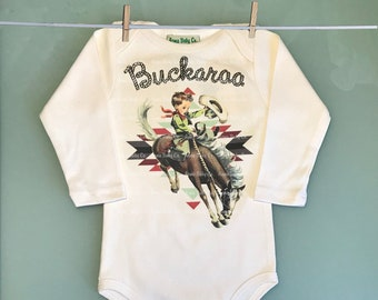 6caa847c2 Retro Western One Piece Bodysuit with Buckaroo Cowboy on Horse. Cute  Southwestern or Western themed baby Onesie™