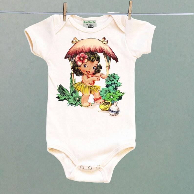 56ce0c3b867e Tiki Girl Hula Girl Tiki Shirt Organic Bodysuit Organic | Etsy