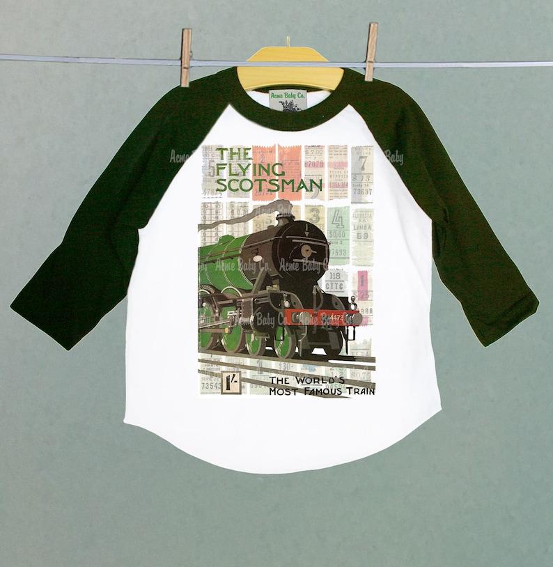 a418d8a7 Steam Train Raglan Shirt Flying Scotsman Vintage Graphic T | Etsy