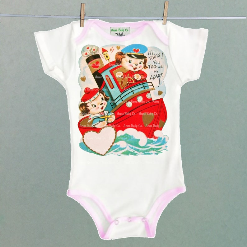 Unique retro layette. Retro Cutie One Piece Puppies Bodysuit with Colored Trim Adorable vintage Puppy Dogs and Tug Boat illustration
